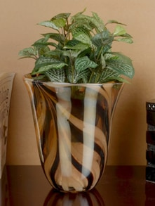 Brown Marbling Effect Glass Vase