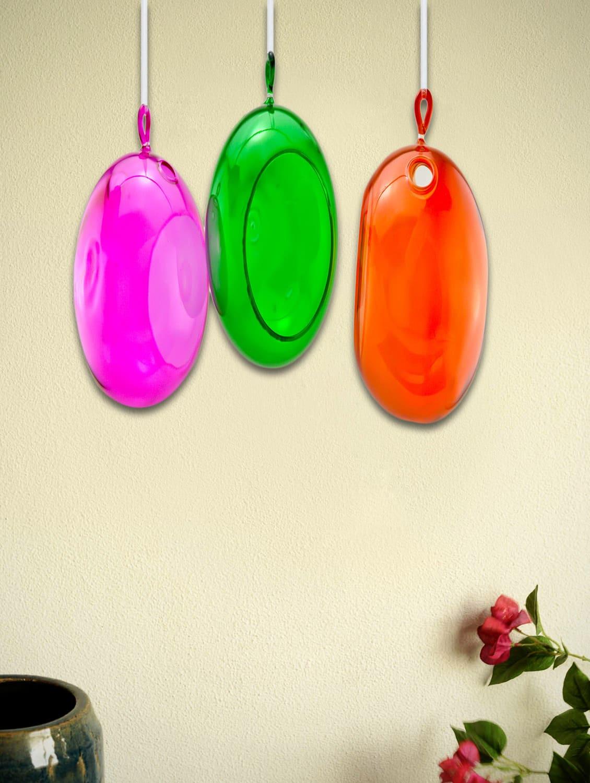 Coloured Glass Decorative Balls (Set Of 3) - Importwala