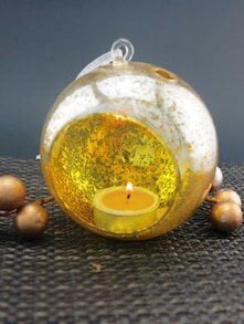 Gold Speckled Hanging Glass Tealight Holder (Medium)
