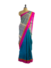 Wonderful Blue Tussar Silk Saree With Gorgeous Striped Aanchal - Pothys