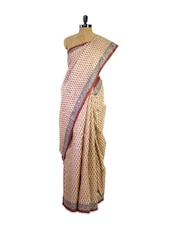 Beautiful Printed Beige Tussar Silk Saree - Pothys