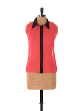 Bright Pink Cut-sleeved Shirt With A Black Placket - Xniva