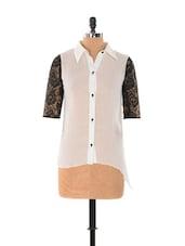 White Shirt With Black Net Sleeves - Xniva
