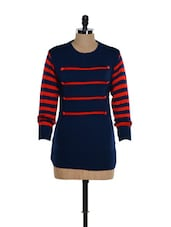 Trendy Blue And Red Woolen Top With Striped Sleeves - TAB91