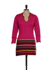 Trendy Bright Pink  Top With A Multi-coloured Base - TAB91