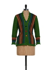 Trendy Green Striped Cardigan With Colourful Buttons - TAB91