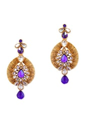 Fabulous Blue Golden Earrings With Stunning Purple Crystals - Rich Lady