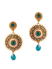 Fabulous Crystal Earrings With Blue Crystals - Rich Lady