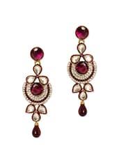 Lovely Purple Stone Studded Earrings - Rich Lady