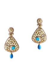 Breathtaking Intricate Gold Earrings With Blue Stones - Rich Lady