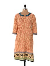 Beige Base Kurta With Red And Black Warli Prints - MS@Lady