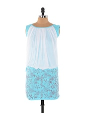 Sky Blue And White Printed Dress - Xniva
