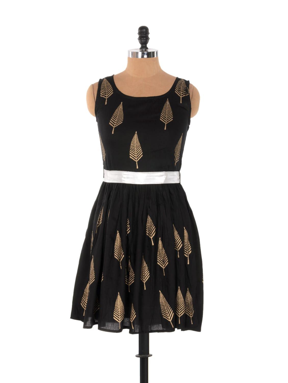 Black Frilly Dress With Golden Leaf Prints - Xniva