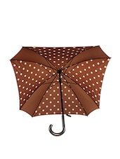 Brown And White Polka Dot Square Umbrella - By