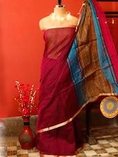 Maroon Cotton Saree With Striped Border - Cotton Koleksi