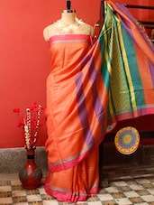 Orange Raw Jute Silk Saree - Cotton Koleksi