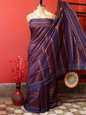 Plum Purple Raw Jute Silk Saree - Cotton Koleksi