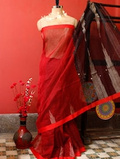 Bright Red Resham Saree - Cotton Koleksi
