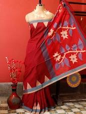 Classy Red Resham Saree - Cotton Koleksi