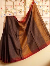 Cocoa And Orange Resham Saree - Cotton Koleksi
