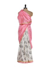 White And Pink Silk Saree With Black Rose Prints - Purple Oyster