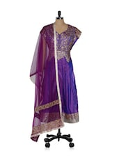 Heavily Embroidered Purple And Gold Suit Set - Purple Oyster