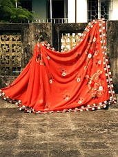 Coral Orange Georgette Sari With Embroidery Work, With Matching Blouse Piece - Urvashi's
