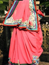 Bright Pink Georgette Saree, With Matching Blouse Piece - Urvashi's