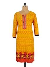 Yellow And Orange Printed Kurti - Urvashi's