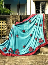 Green Saree With Pink Embroidery, With Matching Blouse Piece - Urvashi's