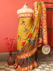 Mustard Saree With Green And Orange Embroidery, With Matching Blouse Piece - Urvashi's