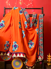 Designer Orange And Blue Saree, With Matching Blouse Piece - Urvashi's