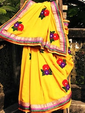 Stylish Mustard Saree With Multi-coloured Wool Work, With Matching Blouse Piece - Urvashi's