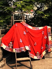 Designer Red Saree With Multi-coloured Wool Work, With Matching Blouse Piece - Urvashi's