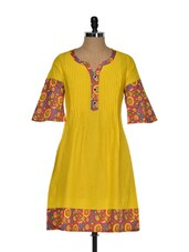 Yellow Pintuck Detailed Cotton Kurti - Myra