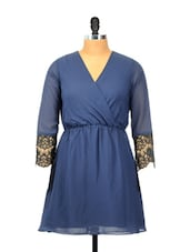 Elegant Blue V-neck Dress - Besiva
