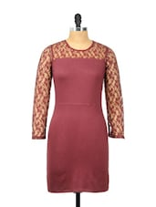Sexy Maroon Dress With Lace Sleeves And Back - Besiva