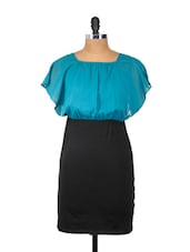 Blue And Black Ruffled Sleeved Dress - Besiva