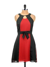 Red And Black Halter Neck Dress - Besiva