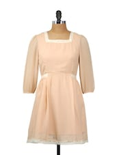 Elegant Peach Full-sleeved Dress - Besiva