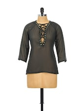 Black Full-sleeved Top With Tie-ups On The Neck - Besiva