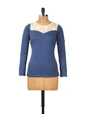 Blue Full-sleeved Top With Cream Lace Neck - Besiva