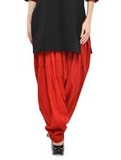 Solid Red Cotton Patiala Salwar - Stylenmart