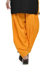 Solid Orangish Yellow Cotton Patiala Salwar - Stylenmart