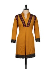 Brown Lace Trim Cotton Fleece Kurti - Pretty Angel