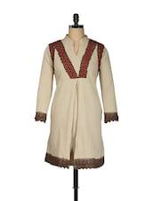 Beige Cotton Fleece Kurti With Lace Trim - Pretty Angel