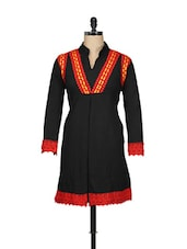 Black Cotton Fleece Kurti With Lace Trim - Pretty Angel