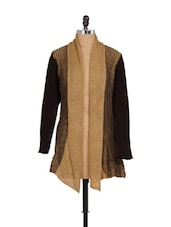 Trendy Beige And Black Winter Shrug - Madrona
