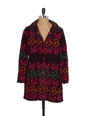 Wine Knit And Embroidery Coat - Madrona