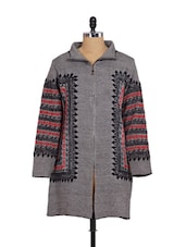 Grey Knitted Jacket Style Coat - Madrona